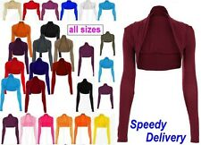 WOMENS LONG SLEEVE BOLERO SHRUG LADIES CARDIGAN TOP 6 8 10 12 14 16 18 20 *Bolro