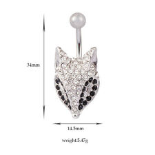 Fox Rhinestone Crystal Barbells Navel Belly Bar Button Ring Body Piercing