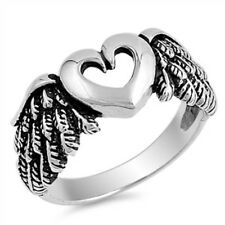 Sterling  Silver Ring - Heart with Angel Wing