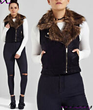 NEW WOMENS SHORT FUR PU BIKER JACKET FAUX LEATHER GILET Ladies ZIP Coat Size8-16