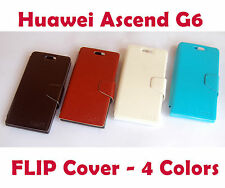 Huawei Ascend G6 Flip Cover Case Pouch with Sensor - Brown Black Pink Blue White
