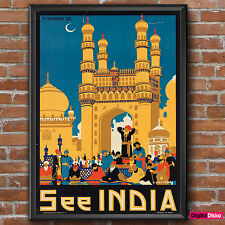 India See India Hyderabad Vintage Poster Print -A3/A4 FREE UK P&P