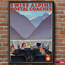 Switzerland Swiss Alpine Coaches Vintage Poster Print -A3/A4 FREE UK P&P