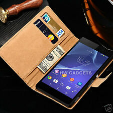 Genuine Real Leather Slim Wallet Flip Case Cover for Sony Xperia Z5 Compact