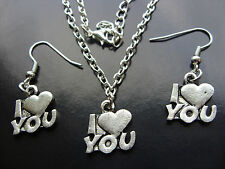 Plata Tibetana I Love You HeatCharm Colgante Collar o Aretes, Kitsch