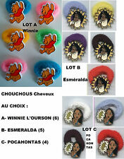 Lot de 4, 5, 6 CHOUCHOUS Cheveux Disney : WINNIE L'OURSON, ESMERALDA, POCAHONTAS