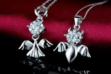 white gold plated with solid Sterling Silver angel and devil Necklace Pendant