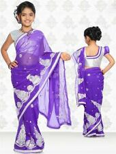 SareeGalaxy Purple Net Readymade Kids Saree With Blouse (CKIC137A)