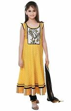 SareeGalaxy Yellow Cotton Kids Churidar Anarkali With Dupatta (CFKB1044)