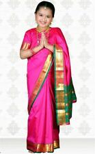 SareeGalaxy Pink Art Silk Readymade Kids Saree With Blouse (CKIC501)