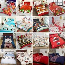 CHRISTMAS DUVET COVER SETS SNOWMAN SANTA REINDEER EMOJI BEDDING - KIDS ADULTS