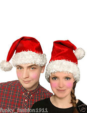 Adults Luxury Velour Red Furry Classic Hat Christmas Santa Party Fancy Dress