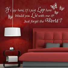 IF I LAY HERE SNOW PATROL Wall Art Sticker Decal quote MUSIC LYRICS butterlfy