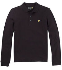 Lyle & Scott Mens Polo T Shirt Long Sleeve Pique True Black S - XL