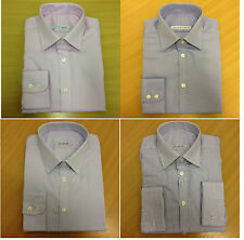 Ex M&S PURE COTTON Mens Shirt Long Sleeve SLIMFIT Textured Extra SLIM FIT Luxury