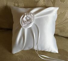 LOVELY HAND MADE WEDDING RING PILLOW/WHITE/IVORY&RIBBON ROSE/19x19cm/7.5''x7.5''