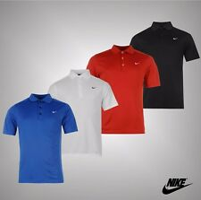 New Mens Genuine Nike Dri-Fit Fabric Golf Solid Polo Shirt Top Size S M L XL XXL