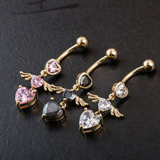 Navel Belly Ring Rhinestone Button Bar Body Piercing triple heart angel wing