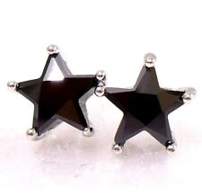 Cubic CZ Star Stud Earrings White Gold Plated Purple Black Pink Clear 4 5 7 9mm