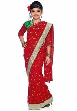 Bharatiya Paridhan Red Georgette Readymade Kids Saree with Blouse (CKID142R)
