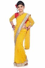 Bharatiya Paridhan Yellow Georgette Readymade Kids Saree with Blouse (CKID142Y)