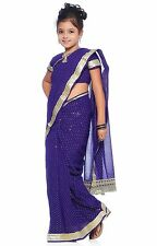 Deep Blue Georgette Readymade Kids Saree with Blouse