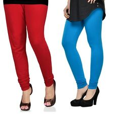 Cotton Lycra Legging Combo Of 2 - Red, Deep Blue (LMIC49)