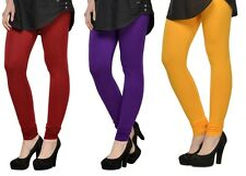 Cotton Lycra Legging Combo Of 3 - Red,Purple,Yellow (LMID52)