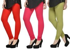 Cotton Lycra Legging Combo Of 3 - Red,Pink,Light Green (LMID47)