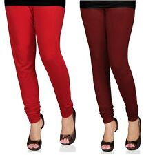 Cotton Lycra Legging Combo Of 2 - Red, Maroon (LMIC50)