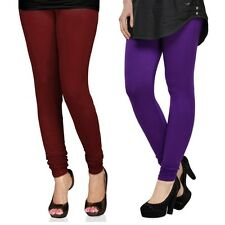 Cotton Lycra Legging Combo Of 2 - Maroon, Violet (LMIC22)