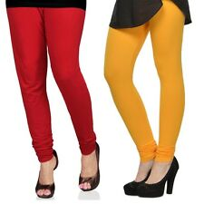 Cotton Lycra Legging Combo Of 2 - Red, Yellow (LMIC56)