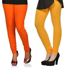 Cotton Lycra Legging Combo Of 2 - Orange, Yellow (LMIC47)