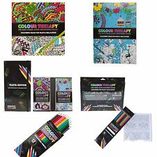 New Anti Stress Colour Therapy Colouring Books Pencils Set Calm Relaxing Zen Art