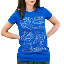 Millennium Damen T-Shirt Falcon blaupause falkon star darth wars solo han vader