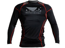 BAD BOY Rashguard, Tech, langarm, schwarz-rot, Compression Shirt, MMA, Grappling
