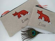 Handmade Personalised Fox Coin Purse/Wallet or Pencil Case Linen Wording Choice