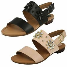 Ladies Clarks Viveca Melrose Black Or Nude Leather Sandals D Fitting