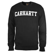 Carhartt College Sweat schwarz weiß - Herren Crew Neck Pullvoer aus French Terry