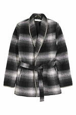H&M Wool Blend Coat S M Grey Checked 8  10 12 14 BNWT Jacket Black Lined