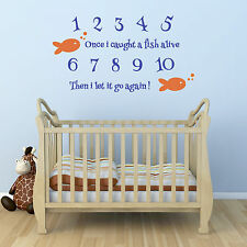 Once i caught a fish alive wall sticker - Educational Nursery Rhyme Wall Sticker