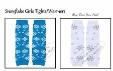 Snowflake Leg Warmers Babies Childrens Cotton Boot Socks Blue or White