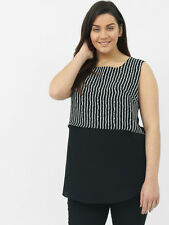 Lovedrobe Womens Plus Size Stripe Double Layer Sleeveless Top Black and Ivory