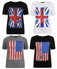 New Ladies Short Sleeve Union Jack And American Flag Print T-Shirts 12-26