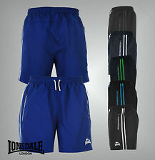 Mens Branded Lonsdale 2 Pockets Training Mesh Two Stripe Woven Shorts Size S-XXL