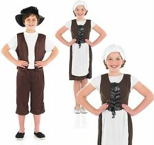 Childrens Tudor Boy Girl Fancy Dress Costume Medieval Book Week Outfit 6-12 Yrs