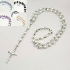 Personalised Rosary Beads with ANY Name, Glass Pearls. First Holy Communion Gift