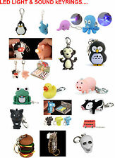 Cute, Novelty, Funny Animal, Bird LED Light & Sound Keyring-20 Styles to Choose