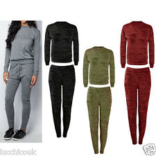 Womens Marl Camouflage Sports Joggers Lightweight Tracksuit Bottoms Top 2PC Set