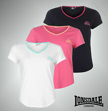 New Ladies Lonsdale Casual Short Sleeves 2 Stripe V Neck T Shirt Top Size 8-20